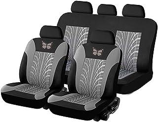 KKmoon Sitzbezüge Auto Set Universal Autositzbezüge PU Leder Schonbezüge Grau Vordersitze und Rücksitze für alle Autos 11Stücke