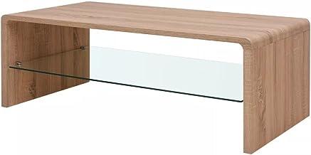 vidaXL Brown Coffee Side Table Glass Shelf 110x55cm Living Room Furniture Modern