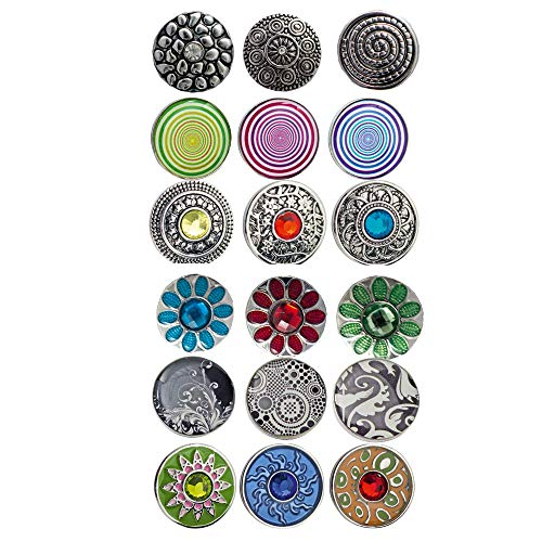 Sunsa Damen Mädchen, Schmuck Geschenke Für Frauen Click-Buttons Druckknöpfe für Chunks Halskette, Armband, Ringe klick Button Set von 18 Druckknopfdesigns tolle Schwester Oma oder Mama Geschenk