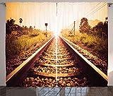 ABAKUHAUS Vías de Tren Cortinas, Ferrocarril Retro rústico, Sala de Estar Dormitorio Cortinas Ventana Set de Dos Paños, 280 x 260 cm, Multicolor