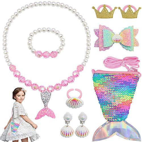 Zhishangcheng 9Pcs Meerjungfrau Kinderschmuck Spielzeug Set,Halskette Ringe Ohrringe Armbänder Mermaid Handtasche zum Mädchen Dress Up Meerjungfrau Party,3-8 Jahre Mädchen Geburtstag Mitgebsel- Rosa