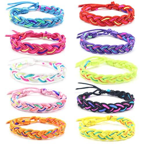 Suszian Armbänder, 10 PCS Mix Farbe Nepal Woven Friendship Bracelets mit einem verschiebbaren Knotenverschluss Verstellbare Armbänder für Teen Girls Party Favors