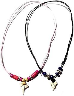 artigianale 2 collane,1 Rosa e 1 Blu Ciondolo Dente squalo 3 cm Circa Sono Sempre Differenti e Laccio Regolabile Tribale U...