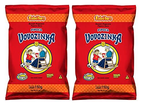 Vovozinha - Sweet Popcorn - 5.3 oz (PACK OF 02) | Pipoca Doce - 150g