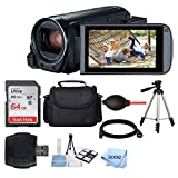 Canon VIXIA HF R800 Camcorder (Black) + SanDisk 64GB Memory Card + Digital Camera/Video Case + Extra Battery BP-727 + Quality Tripod + Card Reader + Tabletop Tripod/Handgrip + Deluxe Accessory Bundle