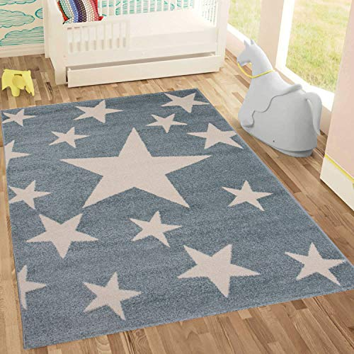 Kinderteppich Sky Sterne   Kinderteppich für Mädchen und Jungen   Teppich für Kinderzimmer   Stern   Blau Rosa   Schadstofffrei Kinderzimmerteppiche geprüft von Öko-Tex (Mint, 120x170 cm)