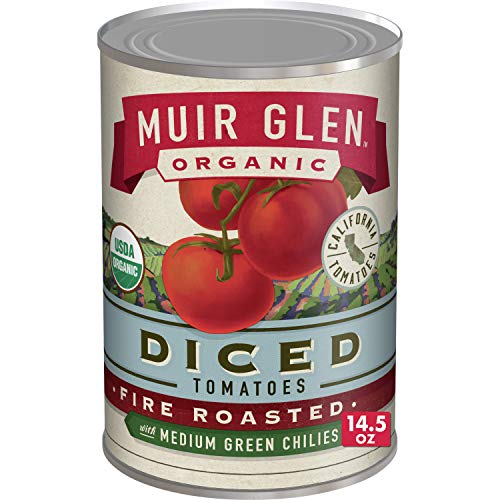 Muir Glen Canned Tomatoes, Organic Diced Tomatoes, Fire Roasted with Medium Green Chilies, No Sugar Added, 14.5 Ounce Can