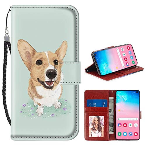 Samsung Galaxy S10 Wallet Case Corgi Dog PU Leather Full Body Phone Case with Card Slot for Samsung Galaxy S10