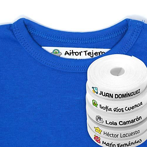 100 Etiquetas Personalizadas para ropa con Icono en Color a seleccionar. Tela Blanca. Mod. Galaxia