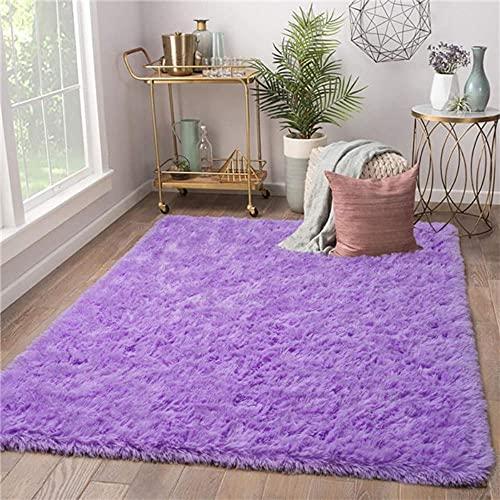 Modern Living Room Carpet Soft Kids Room Rug Large Fuzzy Shag Area Rugs for Nursery Girls Dorm Home Decor Children Bedroom Rug-purple,50cm x 80cm