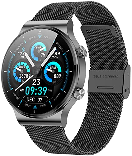 ANMI Smartwatch Uomo,Orologio Fitness Uomo,Elegante Acciaio Smart Watch Bluetooth Digitale Cardiofrequenzimetro da Polso Contapassi Impermeabile IP68 Sportivo Activity Tracker per Android iOS(Nero)