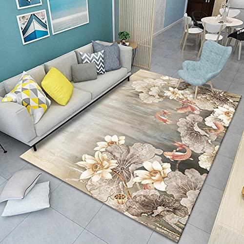 CLYDX Alfombras Salon Habitación Alfombra Pasillo Lavables Rug Dormitorio Sala de Estar Alfombra Antideslizante Alfombra para el Juego de los niños Decora el 120x160 cm (Planta Floral)