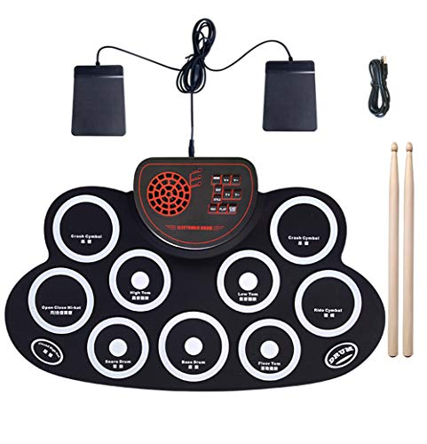 Donteec Drum Kit, Portable Electronic Drum Kit 9 Silicon Drum Pad Built-in Speaker USB Powered, Electric Drum Beginner Set Percussion Child Best Gift,White