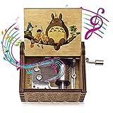 HUABIAO Caja De Música De Manivela De Madera Caja Musical De Madera Grabada con Manivela De 18 Notas Mi Vecino Totoro Cajas De Música Regalo De Cumpleaños Regalo Musical
