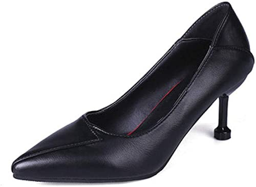 CBDGD Le tempéraHommest de la Mode des Femmes à Talons Talons a souligné Les Chaussures à Talons Hauts 7.5CM Rouge Noir Talons Hauts (Couleur   noir, Taille   EU36 UK3.5 CN35)  pas de minimum