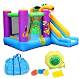Inflatable Bounce House with Air Blower, Kids Jumping Bouncer Castle with Slide & Playhouse, Indoor Outdoor Large Thick Inflatable Jump Table Activity Center, Include Repair Kit & Carry Bag (D)