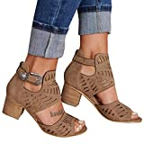 Womens Peep Toe Sandals, Ladies Hollow Chunky High Heel Roman Sandals Buckle Strap Cut Out Sandals Casual Beach Shoes (Brown, US:8)