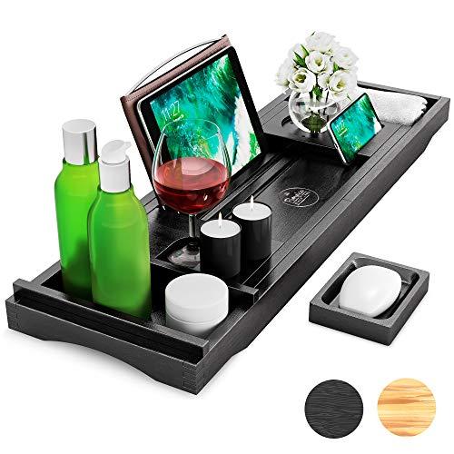 Premium Badewannenablage aus Bambus-Holz - Badewannenbrett mit Seifenschale, Getränkehalter, Buchständer, Handtuch-Box, Smartphone- und Tablet-Halterung - variabel ausziehbar