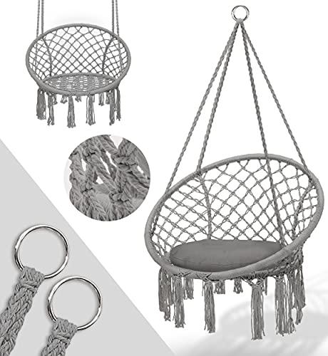 tillvex Hängesessel 150kg zum Aufhängen   Hängestuhl Indoor & Outdoor   Hängekorb wetterfest   Schaukelkorb mit Kissen (Grau)