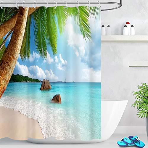 LB Rideaux de Douche Île Tropicale 150x180cm Océan Palmier Plage Rideaux de Bain avec Crochets,Imperméable Polyester Anti Moule Salle de Bain Décor