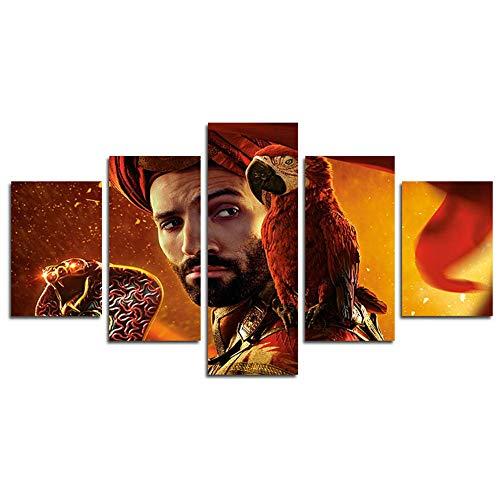 DSNICK-CP 5 Piezas HD Jafar - Aladdin Canvas Scene Wall Art Painting para el hogar Sala de Estar Oficina Mordern Decoración,B,30x50cmx2;30x70cmx2;30x80cmx1
