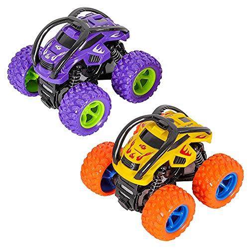 Coche de Inercia, Camión Monstruo Carros de Juguete Coche de Juguete para Vehículos Todoterreno Giratorio de 360 Grados para Niños y Niñas (Paquete de 2, Amarillo Morado)