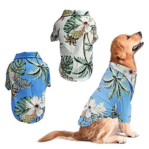 RoxNvm Camiseta de Verano para Perros, Camisas de Perro Hawaiano, Playera para Perros Estilo Resort de Playa, Ropa de Perro Transpirable de Moda para Cachorros, 2 Piezas, Azul y Blanco (pequeño)
