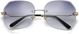 LUKEEXIN Rimless Sunglasses for Women Retro Vintage Sunglasses (Color : Gray)