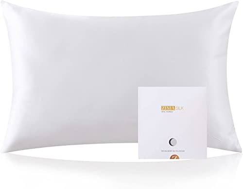 Taie d'oreiller Zimasilk - 100 % Soie Naturelle de mûrier - pour Les Cheveux et la Peau - 19 mm de Soie des Deux côté...
