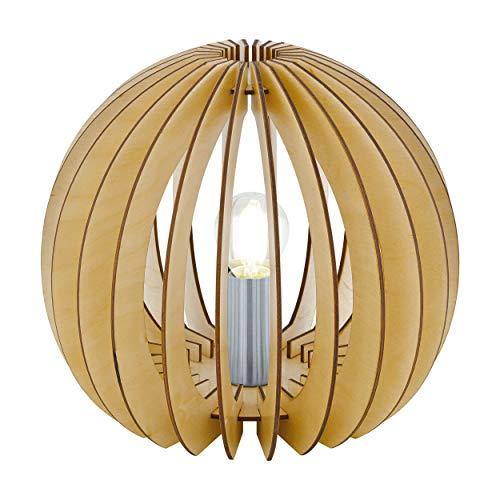 Eglo Cossano Lampe de Table 1 Ampoule Vintage Moderne Lampe de Chevet en Acier et Bois Lampe de Salon en Nickel Mat Érable, Lampe avec Interrupteur, Douille E27