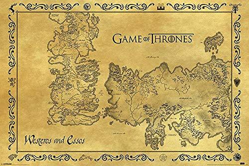 Poster Game of Thrones Carte antique Westeros & Essos (91,5cm x 61cm) + un poster surprise en cadeau!