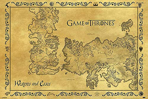 Game of Thrones Poster - Westeros & Essos Karte Antik + Ü-Poster