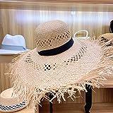 Sombrero De Sol Para Mujer,Sombrero Caqui De Rafia De Ala Grande Sombrero De Sol Ahuecado Cinta De Verano Sombrero De Playa Elegante Floppy Fedora Sombrero De Paja Protección Uv Flecos Sun Derby Ca
