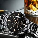 NIBOSI Urbane Casual Dress Chronograph Military Quartz IP Black Stainless Steel Band Men's Watches