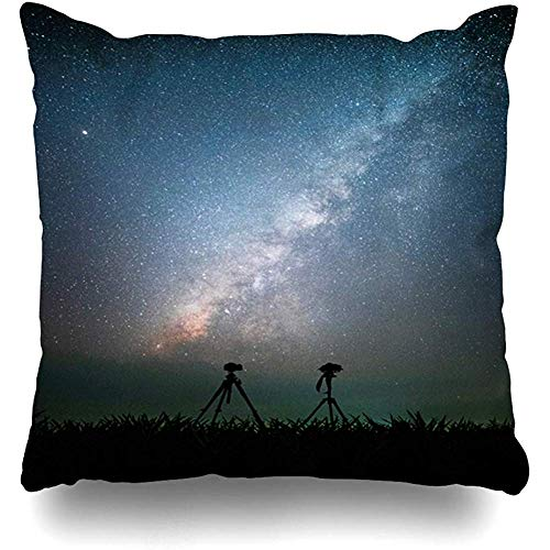 K.e.n Funda de Almohada Azul Cámara de trípode de Aventura Azul Vía láctea Estrellas en los Parques de viajeros Actividad Ciencia Asia Astronomía Funda de Almohada Brillante
