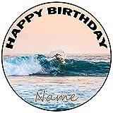 AK Giftshop Decoración para tarta de cumpleaños personalizable, redonda, 20 cm, cualquier edad y nombre