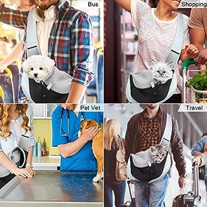 You Pet Dog Sling Carrier, Breathable Mesh Travelling Pet Hands-Free Sling Bag Adjustable Padded Strap Front Pouch Single Shoulder Bag for Dogs Cats 6