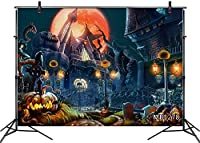 HD 10x7ft Halloween Castle Backdrops for Photography Haunted Mansion Moon Night Pu kin Lights Graveyard Photo Background Party Banner Decorations Customized Photo Booth Props