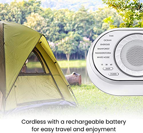 Ultra-Portable Rechargeable Sound Machine   12 Relaxing Sleep Sounds , Auto-Off Timer, Adjustable Volume   Portable Sleep Therapy for Home , Office , Baby & Travel   HoMedics SoundSpa
