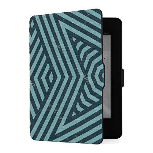 Funda para Kindle Paperwhite 1 2 3, líneas geométricas, Negro y Verde Azulado, Funda de Piel sintética con Despertador automático Inteligente para Amazon Kindle Paperwhite (se Adapta a Las Versiones