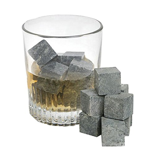 PCWS 9 Stück Whiskey Steine aus natürlichem Granit | MIT Beutel | In Grau | Wiederverwendbare Whiskysteine, Whiskey Stones, Würfel, Kühlsteine | Ideal für Vodka, Gin, Cocktail, Coktail - 3