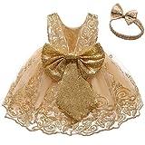 FYMNSI Vestido de fiesta para bebé, para cumpleaños, bautizo, sin espalda, bordado, sin mangas, formal, con cinta para la frente., Oro + Encaje, 0-3 Meses