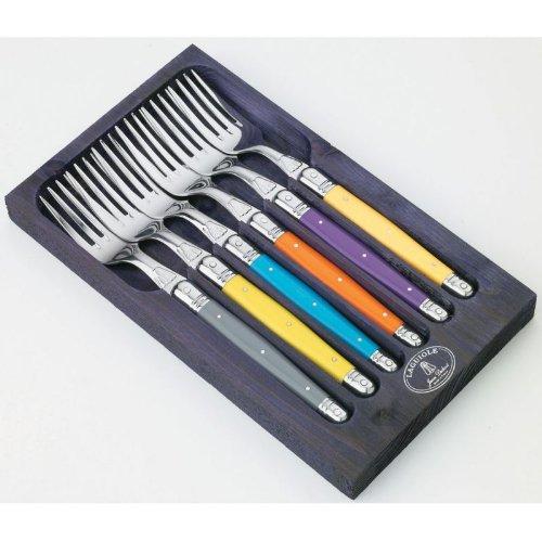 Laguiole Jean Dubost 93/13102, Confezione in Legno 6 forchette da tavola, Colore: Viola