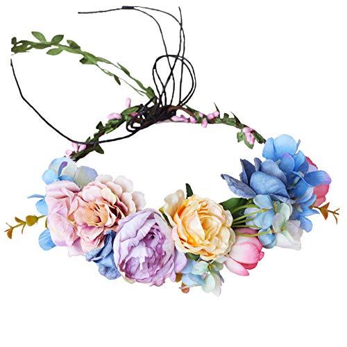 Vine Flower Crown Flower Garland Headband Hair Wreath Floral Headpiece Halo Boho with Ribbon Wedding Party Festival Photos by Vivivalue