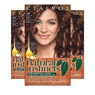Clairol Natural Instincts Semi-Permanent Hair Dye,5RB Reddish Brown Hair Color, 3 Count