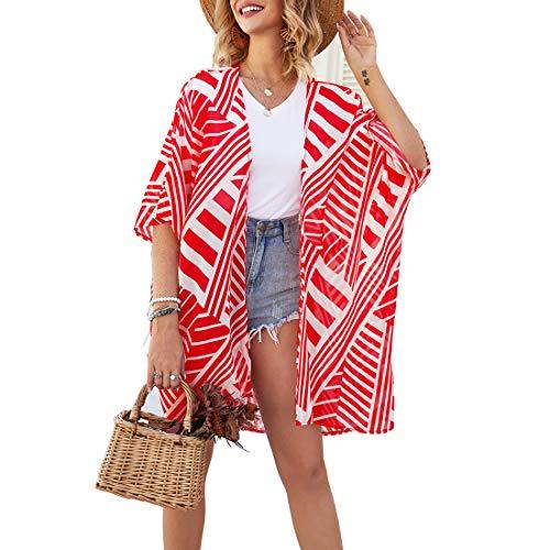 ECOMBOS Donna Chiffon Floral Kimono – Camicetta da spiaggia in chiffon Cardigan Shawl estate Beachwear...