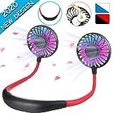 SAFETYON Mini Ventilateurs USB Portable Tour de Cou Double Ventilateur Tournant à 360 ° Sport Fan Mains Libres pour Extérieur/Pêcher/Bureau