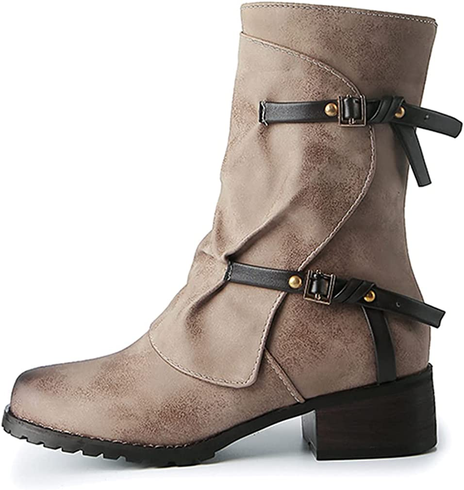 Huntarry Women Retro Sale SALE% OFF Buckle Ankle Boots Combat Calf Ch Mid Industry No. 1