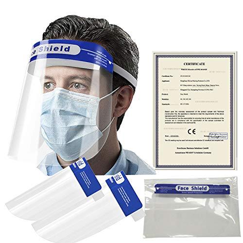 Smarting 2er Pack Wiederverwendbarer Visier Gesichtsschutz Anti-Beschlag-Schutzhut Augen und Gesicht Schützen für Männer und Frauen Unisex Verstellbarer Gesichtsschutz für Kinder und Erwachsene