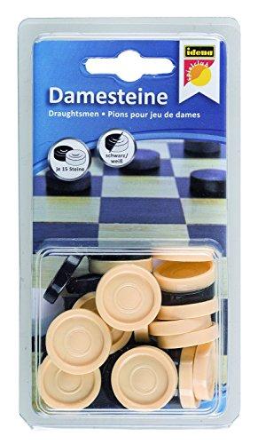 Idena 40060 - Damesteine aus Kunststoff, 30 Stück, schwarz/weiß